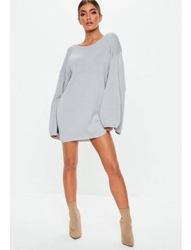Gray Extreme Wide Sleeve Sweater Dress by Missguided