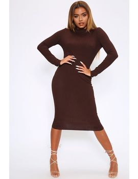 Chocolate Turtleneck Long Sleeve Ribbed Midi Dress by I Saw It First