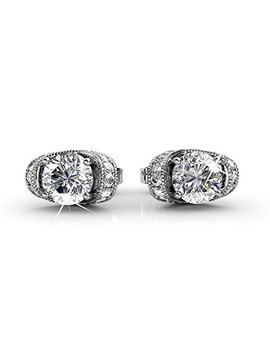 Cate & Chloe Amazon 2018 Astrid 18k White Gold Earrings With Swarovski Crystals, Halo Stud Earring Post Set, Round Cut Solitaire Earrings For Women, Ladies, Beautiful Earrings by Cate & Chloe