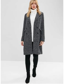 Double Breasted Lapel Tweed Coat   Black M by Zaful