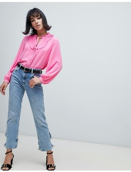 River Island Blouse With Frill Neck In Pink by River Island