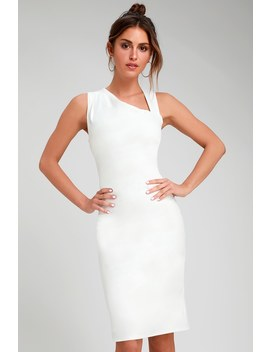 Contemporary Chic White Asymmetrical Neckline Bodycon Dress by Lulus