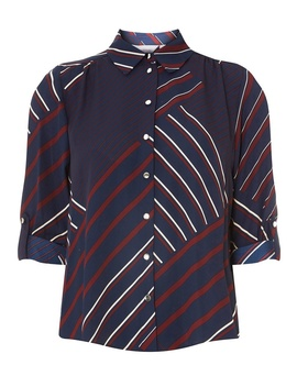 Petite Multi Coloured Striped Roll Sleeve Shirt by Dorothy Perkins