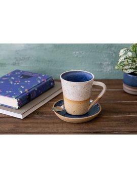 Tall Pottery Coffee Mug With Saucer, Unique Large Blue Tea Cup, Dish Washer Safe Ceramic Tea Mug, White Rustic Handmade Mug by Etsy