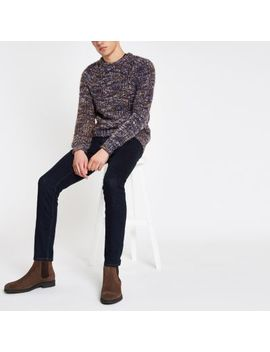 Blue Slim Fit Chunky Twist Sweater by River Island