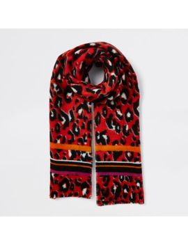 Red Leopard Print Scarf by River Island