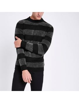 Black Striped Muscle Fit Chenille Knit Sweater by River Island