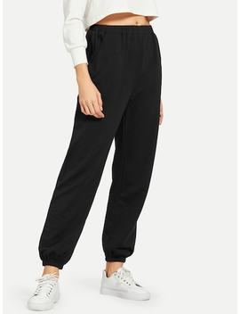 Elastic Hem Solid Pants by Shein