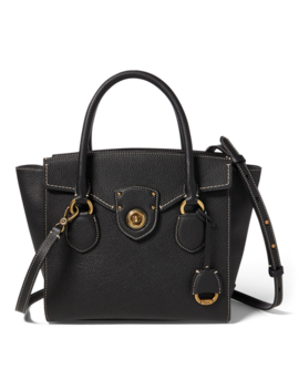 Pebbled Leather Medium Satchel by Ralph Lauren