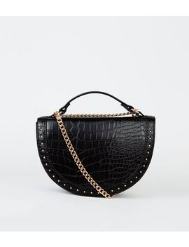 Black Faux Croc Studded Semi Circle Bag by New Look