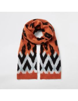 Orange Leopard Print Scarf by River Island