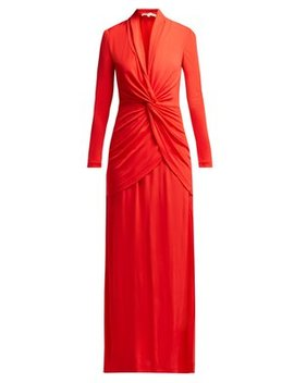 Stacia V Neck Knotted Crepe Dress by Diane Von Furstenberg