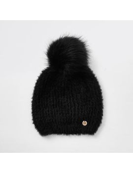 Black Faux Fur Pom Pom Beanie by River Island