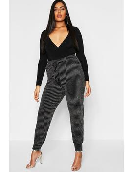 Plus Metallic Stripe Skinny Trouser by Boohoo