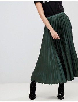 Asos Design Tall Satin Pleated Midi Skirt by Asos Design