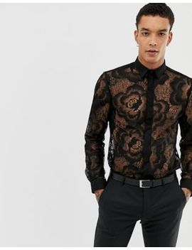 Twisted Tailor Super Skinny Lace Shirt by Twisted Tailor
