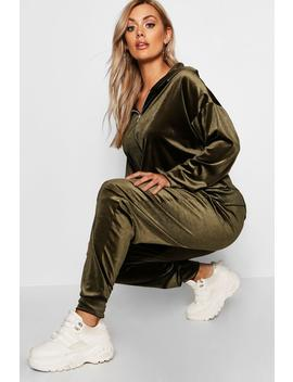 Plus Velvet Zip Hoody Trouser Set by Boohoo