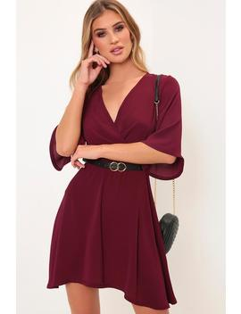 Burgundy Kimono Sleeve Tie Waist Dress by I Saw It First