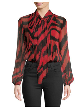Sam Animal Print Tie Neck Silk Top by Diane Von Furstenberg