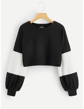 Contrast Faux Fur Sleeve Cut And Sew Sweatshirt by Shein