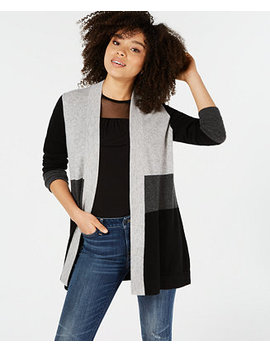 Pure Cashmere Colorblocked Cardigan, In Regular & Petite Sizes, Created For Macy's by Charter Club