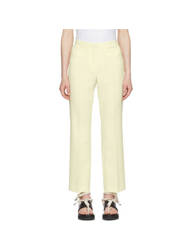 Off White Crepe Cropped Flared Trousers by Carven