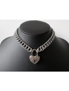 Stainless Steel Chainmail Collar With Silver Heart Padlock   Gothic Chainmaille Padlock Necklace   Discrete Bdsm Day Choker by Etsy