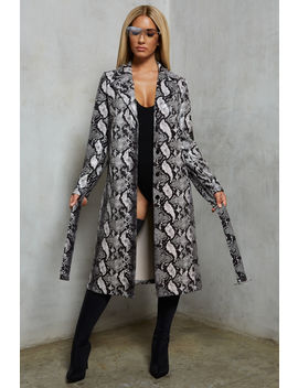 Python Knee Length Duster Coat In Snake Print by Oh Polly