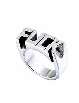 1 Pc Punk Ring For Men Stainless Steel Letter Engraved Design Mans Ring Cool Jewelry Ring Gift(8) by Wudi
