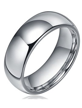 Sj Fashion 8mm Dome Polished Plain Tungsten Ring Mens Wedding Bands Comfort Fit by Sj Fashion