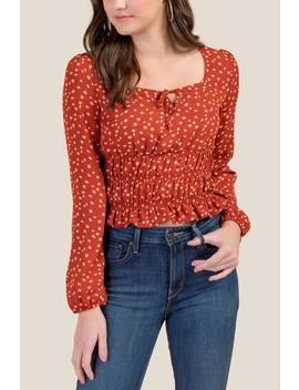 Clementine Smocked Waist Blouse by Francesca's