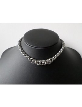 Stainless Steel Minimalist 3 In 3 Chainmaille Choker Necklace With Byzantine Focal Point   Plain Silver Chainmail Collar Chain by Etsy