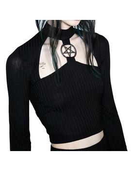 Rosetic Gothic Short Top Slim Black Hollow Pentagram Tops Women Autumn Streetwear Hipster Fashion Club Sexy Navel T Shirts Girl by Rosetic