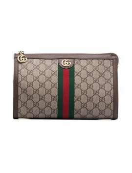 Beige And Brown Gg Logo Leather Makeup Bag by Gucci