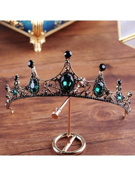 New Sparkling Green Crystal Tiara Crown Bridal Hair Accessories For Wedding Quinceanera Tiaras And Crowns Pageant Diamante Tiara by George Black