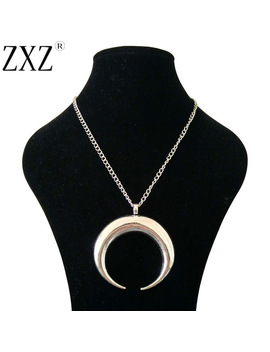 """Zxz Fashion Large Antique Silver Statement Abstract Metal Horn Crescent Moon Pendant On Long Chain Necklace Lagenlook 34"""" by Zxz"""
