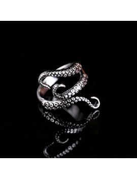 Rinhoo Cool Rings Titanium Steel Gothic Deep Sea Squid Octopus Ring Fashion Jewelry Opened Adjustable Size Top Quality by Rinhoo Jewerly