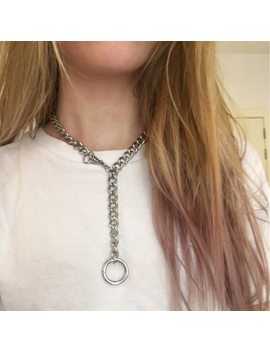 60cm Cool Handmade Silver Chain Choker Necklace For Women Men Girls Punk Gothic Metal Chain Collar With O Round by Riejikvwa