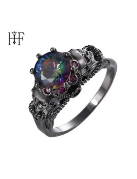 Vintage Punk Gothic Skull Rings Black Gold Filled Jewelry Women Men's Ring Men Jewelery Multicolor Cubic Zircon Skeleton Ring by Kefeng Jewelry