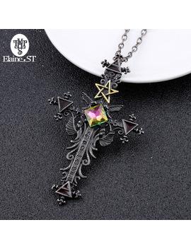 Freeshipping 1pc Vintage Gothic Cross Statement Necklace Triangle Pentagram Geometric Necklace Women Jewellery Hip Hop Men Joyas by Elaine St