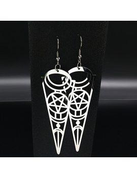2018 Pentagram Stainless Steel Earrings Women Jewelry Geometry Silver Color Earrings Jewelry Boucle D'oreille Longue E612363 by Afawa