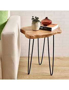 "Welland Natural Edge End Table, Wood Side Table, Nightstand, Plant Stand 20.5"" Tall by Welland"