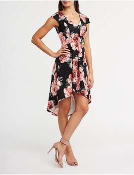 Cold Shoulder Floral Hi Low Dress by Charlotte Russe