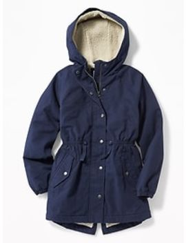 Sherpa Lined Twill Field Jacket For Girls by Old Navy