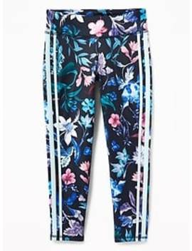 Go Dry Floral Side Stripe 7/8 Length Leggings For Girls by Old Navy