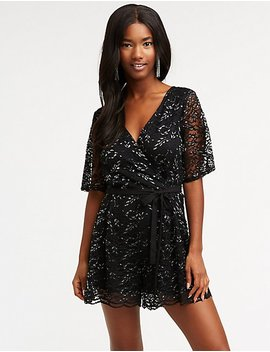 Lace Wrap Romper by Charlotte Russe