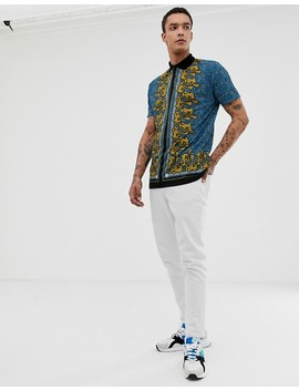 Asos Design Relaxed Longline Polo In Blue Leopard Print With Baroque Border Print by Asos Design