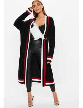 Black Stripe Detail Cricket Cardigan by Missguided