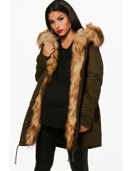 Maternity Faux Fur Trim Parka by Boohoo
