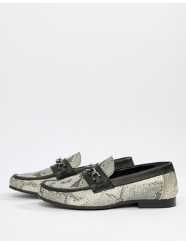 Asos Edition Loafers In Snake Print With Snaffle by Asos Edition